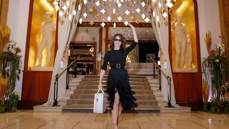 """La comédienne et réalisatrice Valérie Lemercie présente au festival de Cannes """"Aline"""", un biopic inspiré de la carrière de Céline Dion (PHOTOPQR/LE PARISIEN/MAXPPP)"""
