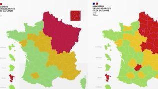 Le gouvernement a mis en place une carte du déconfinement. On y retrouve les départements français colorés en vert, rouge ou orange. Le point avec France Télévisions. (FRANCE 2)
