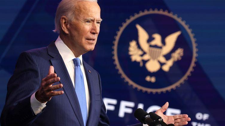 Le président élu américain Joe Biden lors d'un discours à Wilmington (Delaware), aux Etats-Unis, le 11 décembre 2020. (CHIP SOMODEVILLA / GETTY IMAGES NORTH AMERICA / AFP)
