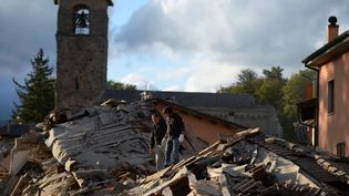 Le village d'Amatrice, en Italie, après le séisme meurtrier du 24 août 2016. (FILIPPO MONTEFORTE / AFP)