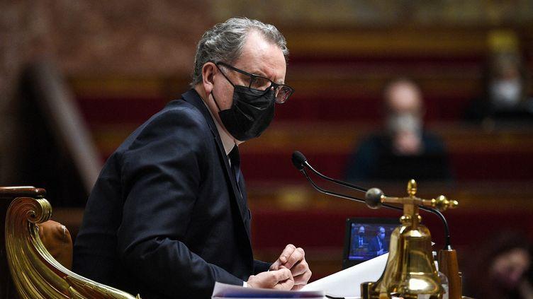 Le président de l'Assemblée nationale, Richard Ferrand, dans l'hémicyle, le 16 février 2021. (ANNE-CHRISTINE POUJOULAT / AFP)