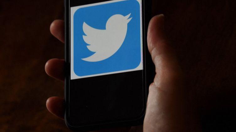 Le logo de Twitter sur un téléphone, le 20 mai 2021 à Arlington, en Virginie (Etats-Unis). (OLIVIER DOULIERY / AFP)