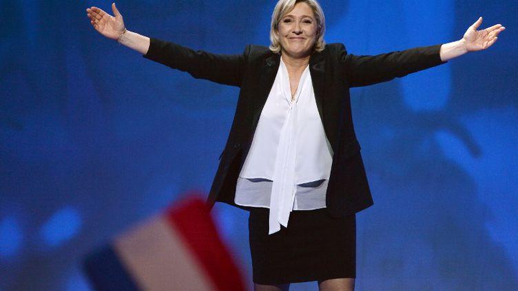 Marine Le Pen en meeting au Zénith de Nantes le 26 février 2017. (JEAN-FRANCOIS MONIER / AFP)