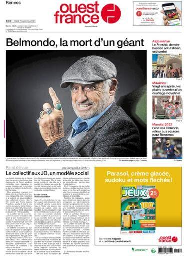 """La une de """"Ouest France"""", le 7 septembre 2021. (OUEST FRANCE)"""