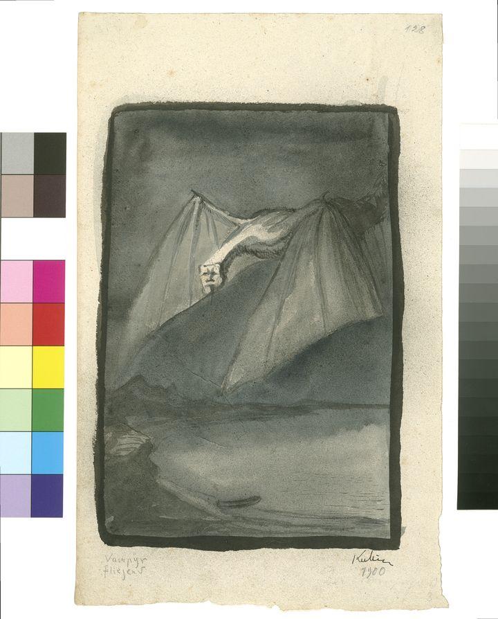 Alfred Kubin (1877-1959) Vampyr / Le Vampire 1900 Encre de Chine et aquarelle sur papier 31 × 19,2 cm Linz, Oberosterreichisches Landesmuseum  (© Eberhard Spangenberg Adagp, Paris, 2019 (détail))