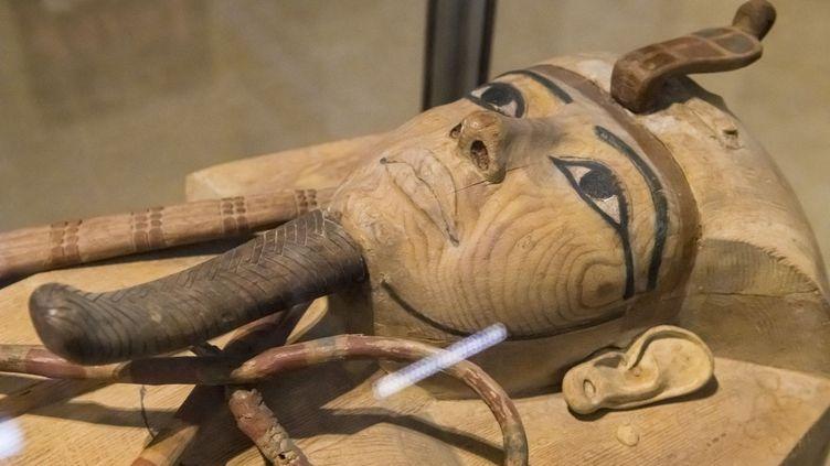 Le sarcophage en bois du pharaon Ramsès II est actuellement exposé au musée de la place Tahrir. (DOZIER MARC / HEMIS.FR / HEMIS.FR)