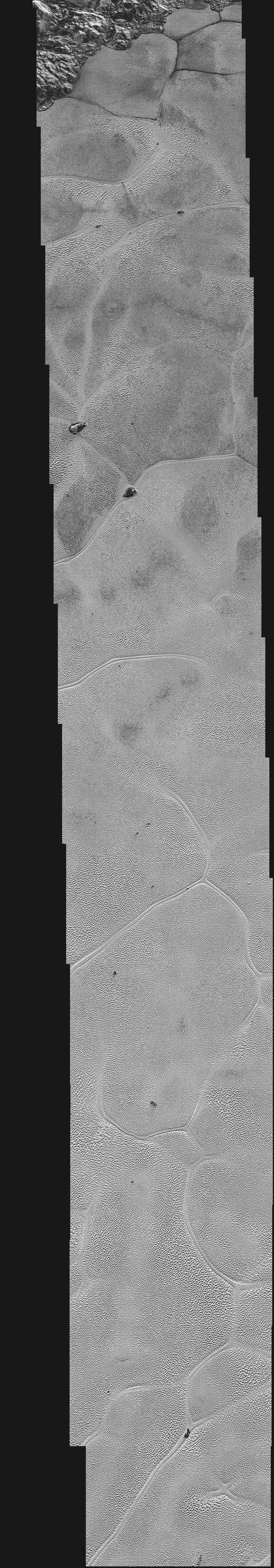Les photos de la plaine Spoutnik, sur Pluton, prises par la sonde New Horizons et publiées le 7 janvier 2016. (NASA)