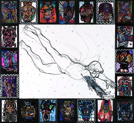 Robert COMBAS, Le saut de l'ange, 2010.Technique mixte sur toile - 175 x 191 cm.Collection particulière. (© ADAGP, PARIS, 2012)
