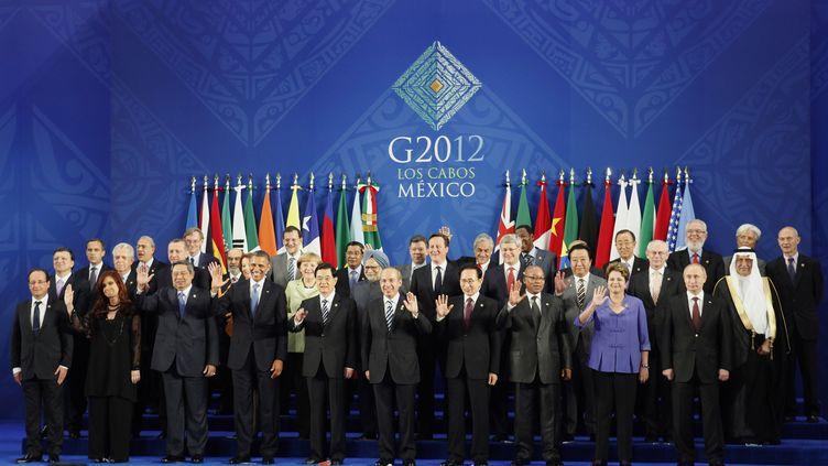 Photo de famille du G20 de Los Cabos (Mexique), le 18 juin 2012. (EDGARD GARRIDO / REUTERS)