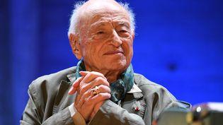 Le philosophe français Edgar Morin à l'Unesco, lors d'une cérémonie marquant ses cent ans, le 2 juillet 2021 à Paris. (BERTRAND GUAY / AFP)