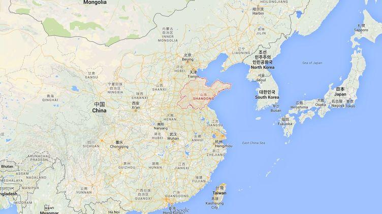 Deux semaines après les explosions survenues dans le port de Tianjin, une déflagration a dévasté une usine chimique dans la province du Shandong (est de la Chine), lundi 31 août 2015. (GOOGLE MAPS)