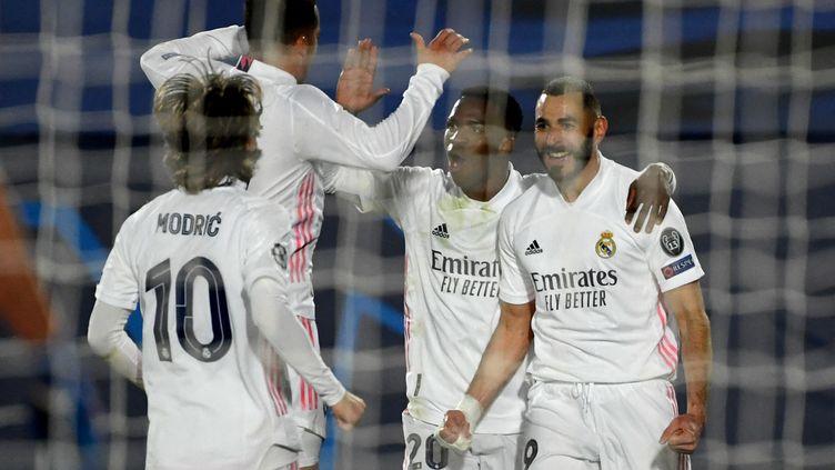 Karim Benzema inscrit son 70e but en Ligue des champions contre l'Atalanta Bergame le 16 mars 2021 (PIERRE-PHILIPPE MARCOU / AFP) (PIERRE-PHILIPPE MARCOU / AFP)