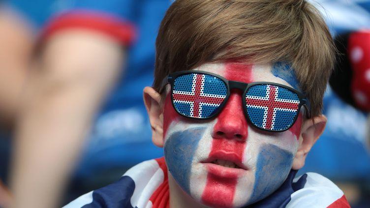 Un supporter islandais lors du match Islande-Autriche du premier tour de l'Euro, le 22 juin 2016 au Stade de France (Seine-Saint-Denis). (KENZO TRIBOUILLARD / AFP)