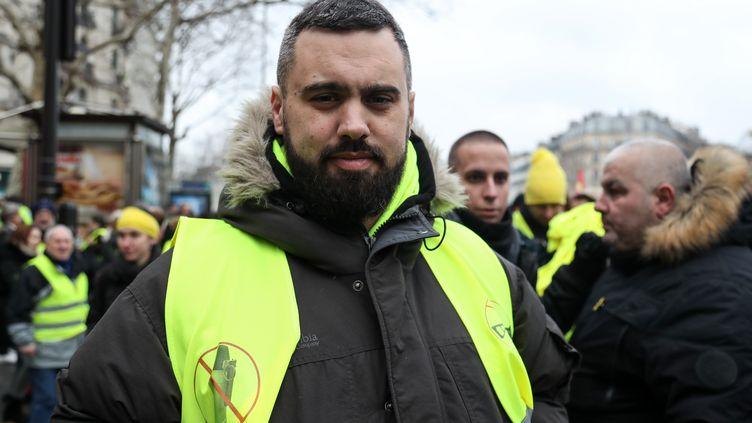 Eric Drouet le 2 février 2019 à Paris. (ZAKARIA ABDELKAFI / AFP)