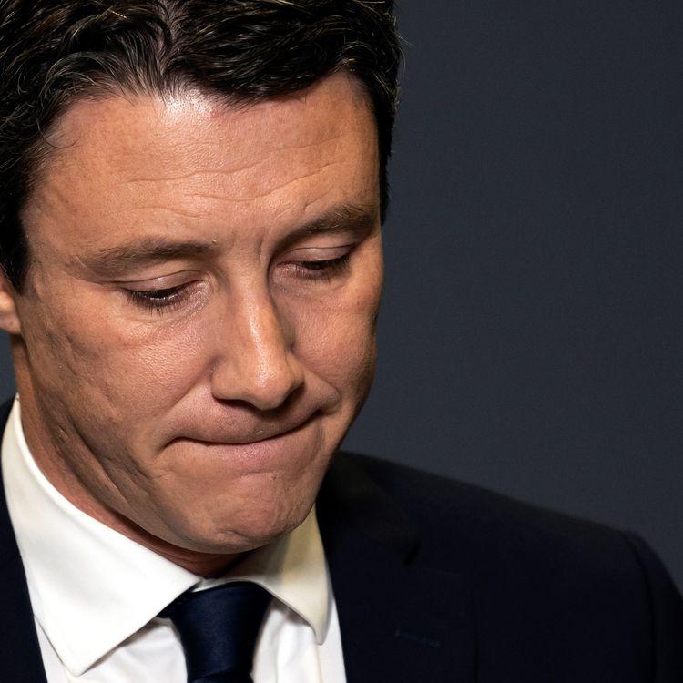 Benjamin Griveaux, à Paris, le 14 février 2020, annonçant qu'il se retire de la course à la mairie de capitale française. (LIONEL BONAVENTURE / AFP)