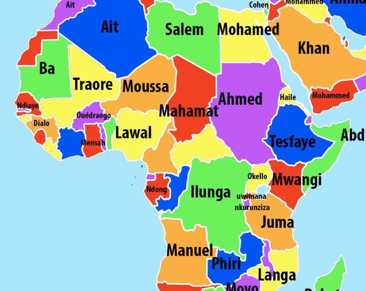 Extrait de la carte des noms de famille publiée sur Vividmaps en 2016 (https://www.vividmaps.com/2016/09/most-common-last-names-by-country.html). (capture écran Vividmaps)