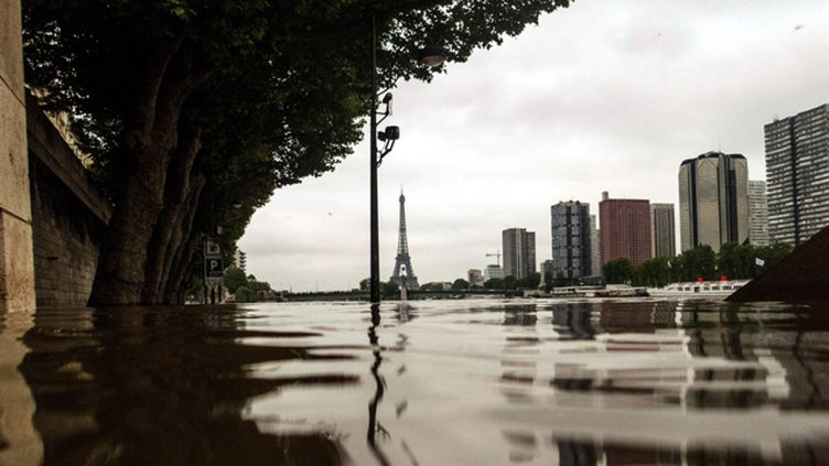 (A Paris, le niveau de la Seine est redescendu à 5,36 m lundi matin, contre 6,10 m dans la nuit de vendredi à samedi. Il s'agit de la plus forte crue depuis 1982 dans la capitale (6,18 m), très loin cependant de celle de 1910 (8,62 m) © Maxppp)