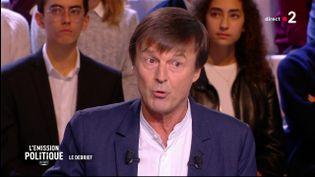 """Nicolas Hulot sur le plateau de """"L'Emission politique"""", sur France 2, le 22 novembre 2018. (FRANCE 2)"""