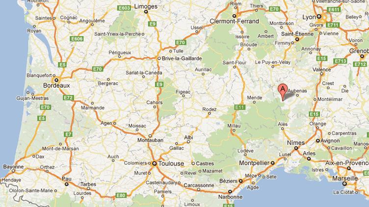 Capture d'écran de Google maps, lacommune de Sablières en Ardèche est signalée par le A. (FTVI)