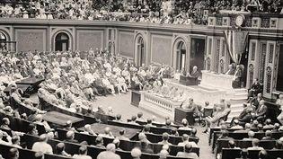 (Le président Wilson devant le Congrès américain en 1919. © DR)