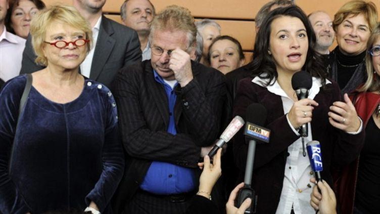 Eva Joly, Daniel Cohn-Bendit et Cécile Duflot au rassemblement de Lyon, le 13/11/2010 (AFP/Phillipe DESMAZES)