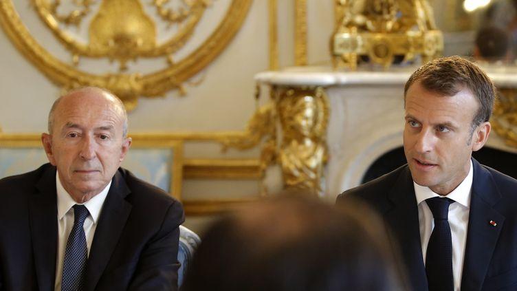 Gérard Collomb et Emmanuel Macron à l'Élysée le 3 août 2018. (MICHEL EULER / POOL)