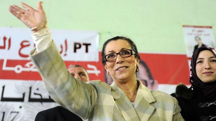 Louisa Hanoune, secrétaire générale du Parti du travail algérien et candidate à la présidentielle, en meeting à Blida, à l'ouest d'Alger, le 27 mars 2014. (Amine Labouad / NurPhoto)