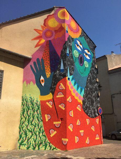 Fresque de la street artiste Kashink à Bessèges (Gard) (Kashink / Miaou)