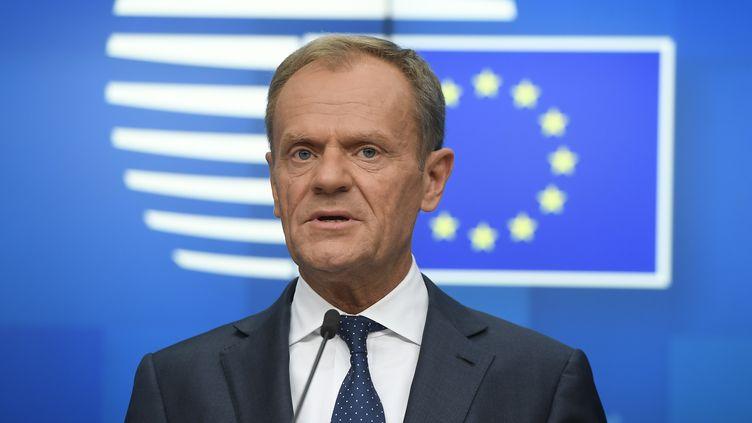 Le président du Conseil européen, Donald Tusk, lors d'un sommet européen à la Commission européenne, à Bruxelles, le 28 mai 2019. (EMMANUEL DUNAND / AFP)