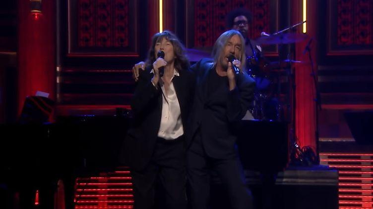 Jane Birkin et Iggy Pop au Tonight Show de Jimmy Fallon mardi 3 mars 2020. (SAISIE ECRAN YOUTUBE - TONIGHT SHOW - NBC)