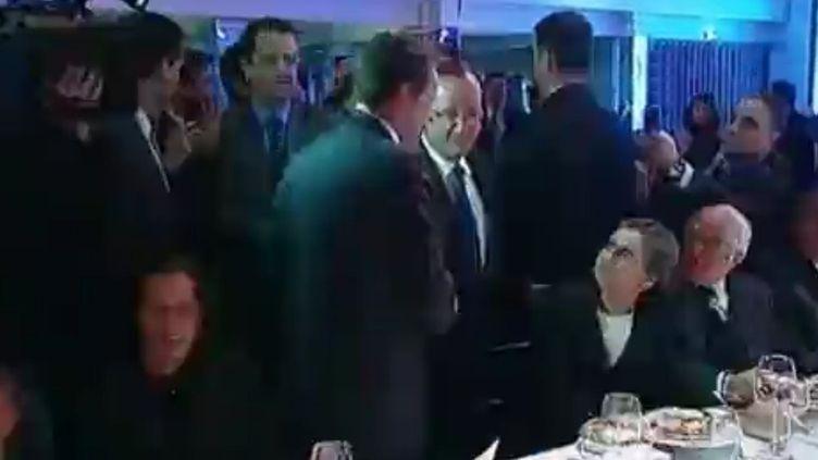 Nicolas Sarkozy et François Hollande, le 8 février 2012. (FTVi)