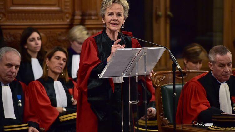 Eliane Houlette, alors procureure nationale financière, lors d'un discours au tribunal de grande instance de Paris, le 23 janvier 2017. (CHRISTOPHE ARCHAMBAULT / AFP)