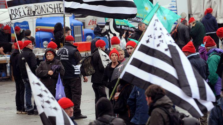 Les manifestants se rassemblent à Quimper, samedi 2 novembre 2013. (JEAN-SEBASTIEN EVRARD / AFP)