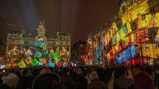 La Place des Teereaux de Lyon illuminée durant la Fête des Lumières le 5 décembre 2019. (ROMAIN LAFABREGUE / AFP)