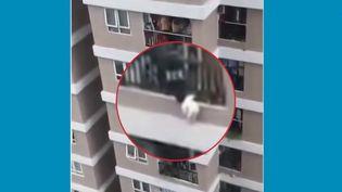 Un jeune livreur de Hanoï, au Vietnam, a sauvé une enfant de trois ans tombée de son balcon, au 12ème étage d'un immeuble. La fillette est saine et sauve. (France 3)