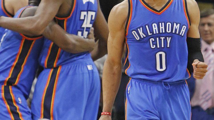 La joie de Russell Westbrook, le joueur du Thunder (RONALD CORTES / GETTY IMAGES NORTH AMERICA)