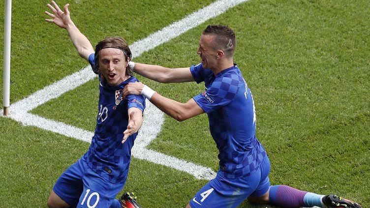 (Le croate Luka Modric célèbre son but, une superbe reprise de volée, juste avant la mi-temps  © Sipa)