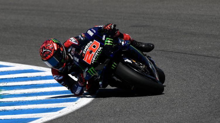 Fabio Quartararo (Monster Energy Yamaha) lors du Grand Prixd'Espagne de MotoGP à Jerez, dimanche 2 mai. (PIERRE-PHILIPPE MARCOU / AFP)