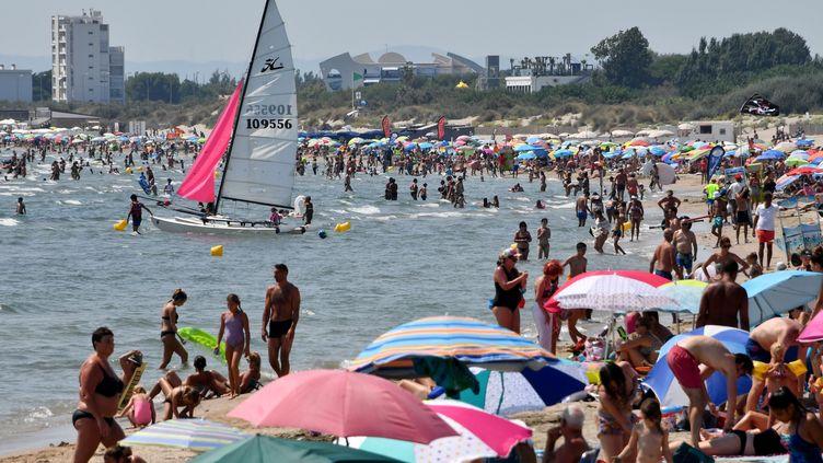 La plage de la Grande-Motte, en région Occitanie,le 1er août 2018. (PASCAL GUYOT / AFP)