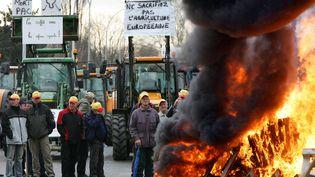 Des agriculteurs participent à une opération de blocage à Strasbourg, le 7 décembre 2005 (photo d'illustration). (FREDERICK FLORIN / AFP)