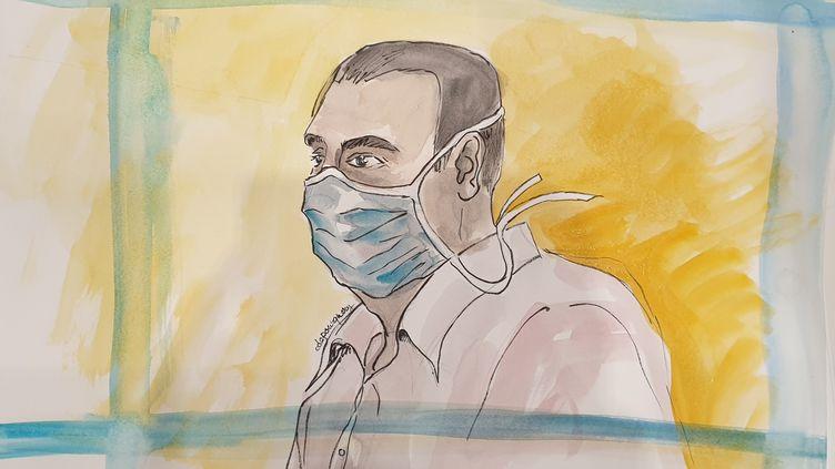 Le principal accusé du procès des attentats de janvier 2015, Ali Riza Polat, le 26 octobre 2020. (ELISABETH DE POURQUERY / FRANCEINFO)