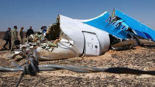 Les débris de l'Airbus A321 de la compagnie Metrojet après lecrash de l'appareil dans le Sinaï égyptien, le 1er novembre 2015. (MAXIM GRIGORYEV / RIA NOVOSTI / AFP)