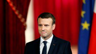 Emmanuel Macron lors de son discours d'investiture à l'Elysée, le 14 mai 2017. (REUTERS)
