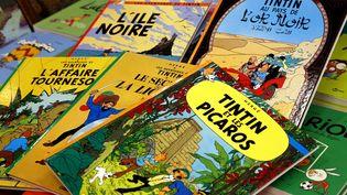 """Des albums de """"Tintin"""" sont exposés à l'exposition Hergé, au Grand Palais (Paris), le 28 septembre 2016. (MAXPPP)"""