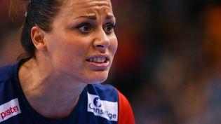 La joueuse norvégienne de handball,Nora Mork,lors de la finale du Mondial contre la France le 17 décembre 2017 à Hambourg,en Allemagne. (PATRIK STOLLARZ / AFP)