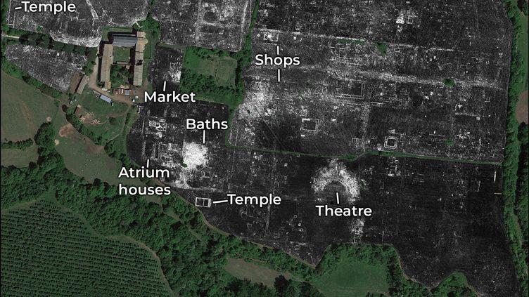 Détail des contours de la cité romaine de Falerii Novi, près de Rome : carte réalisée grâce aux radars GPR (Ground Penetrating Radars) utilisés par les archéologues des universités de Cambridge et de Gand. (HANDOUT / UNIVERSITY OF CAMBRIDGE)