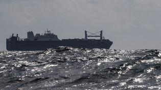 """Le navire """"Bahri Yanbu"""", le 9 mai 2019 au large du Havre (Seine-Maritime). (LOIC VENANCE / AFP)"""