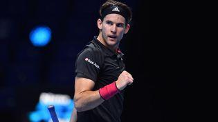Dominic Thiem lors de son match face à Novak Djokovic à Londres, le 21 novembre 2020. (GLYN KIRK / AFP)