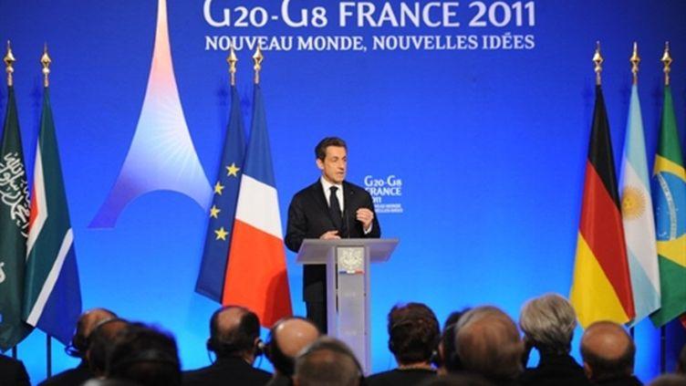Nicolas Sarkozy s'exprimant le 18 février devant les gouverneurs des banques centrales des pays du G20 (AFP - LIONEL BONAVENTURE)