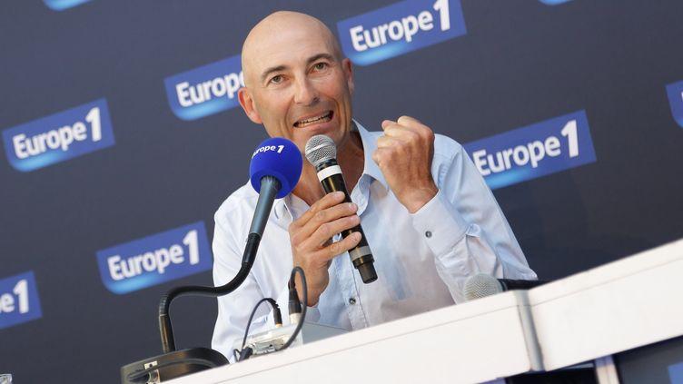 L'humoriste Nicolas Canteloup participe à une conférence de presse d'Europe 1, le 3 septembre 2014. (PLV / SIPA)